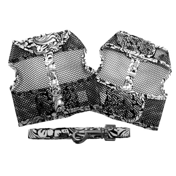 Black and White Floral Cool Mesh Dog Harness and Leash