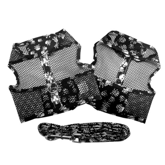 Black and White Skull Cool Mesh Dog Harness and Leash