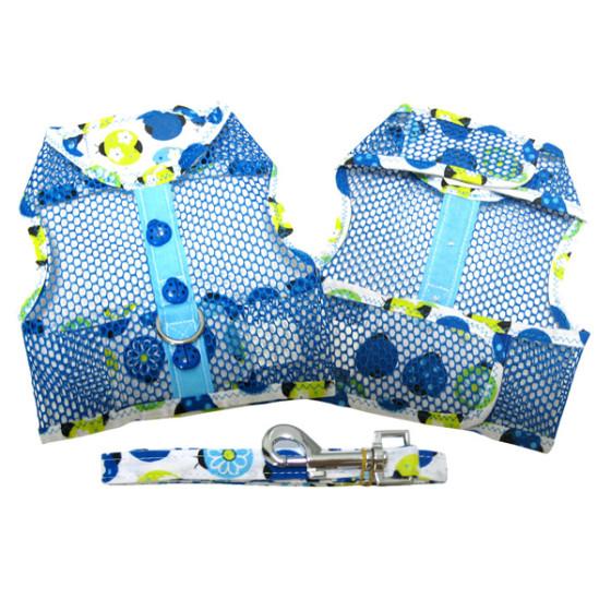 Blue Ladybug Cool Mesh Dog Harness and Leash