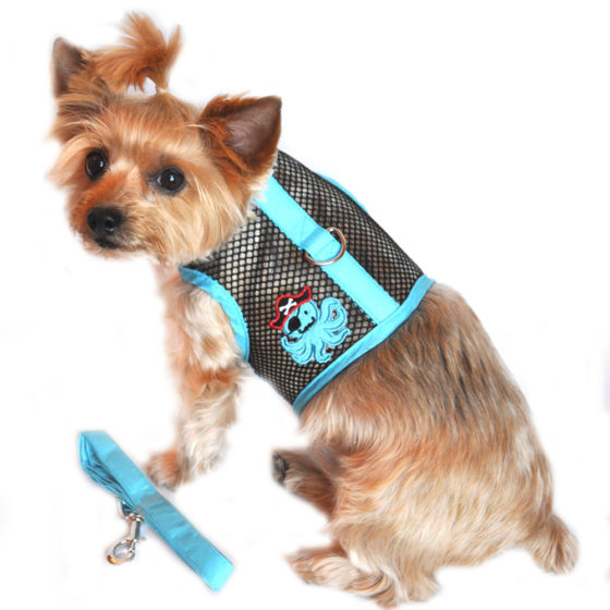 Blue and Black Pirate Octopus Cool Mesh Dog Harness and Leash
