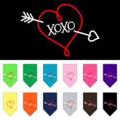 Bow and Arrow heart XOXO dog bandana