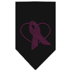 Breast Cancer Awareness pink ribbon heart rhinestone bandana