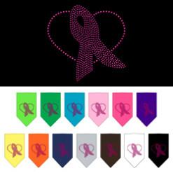 Breast Cancer Awareness pink ribbon heart rhinestone bandanas