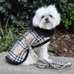 Brown Plaid Fur Dog Coat