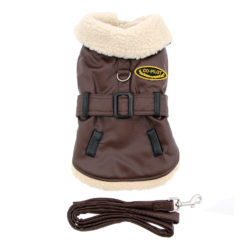 Brown and Black Faux Leather Bomber Dog Coat and Leash