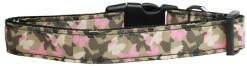 Camouflage pink Butterflies adjustable dog collar