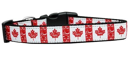 Canadian Flag Swirls Nylon Dog Collar