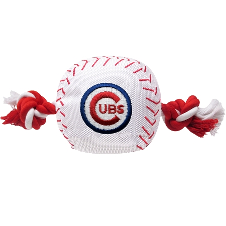 Chicago Cubs plush baseball dog toy and rope
