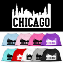 Chicago skyline sleeveless dog t-shirt multi color