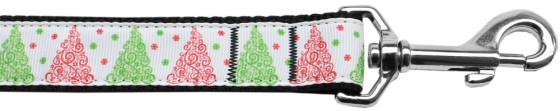Christmas Tree Swirls dog leash nylon webbing