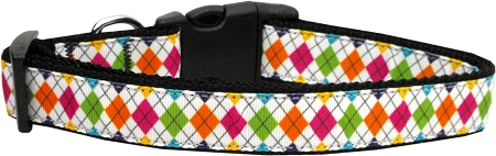 Colorful Argyle Diamond Nylon Adjustable Dog Collar
