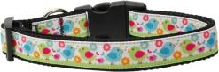 Colorful Chicks and Flowers Nylon Adjustable Dog Collar