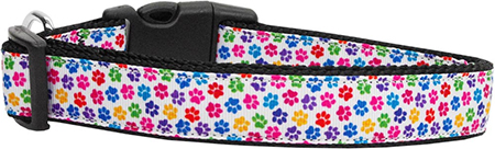 Colorful Dog Paws Nylon Adjustable Dog Collar