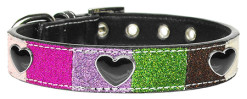 Colorful Glitter Faux Leather Dog Collar with Heart Accents