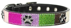 Colorful Glitter Faux Leather Dog Collar with Paws Accents