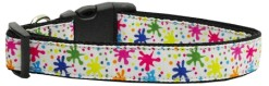 Colorful Paint Splatter adjustable dog collar