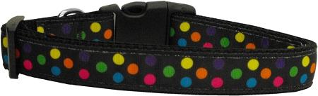 Colorful Polka Dot Nylon Adjustable Dog Collar