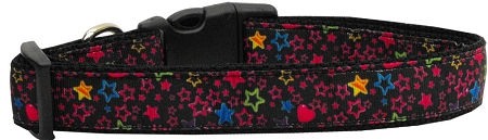 Colorful Stars and Hearts Adjustable Nylon Dog Collar
