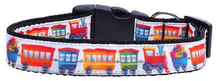 Colorful Trains adjustable dog collar