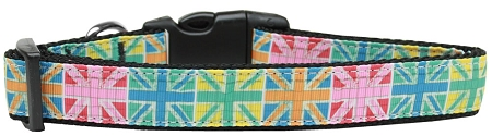 Colorful Union Jack Adjustable Dog Collar