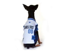 Dallas Mavericks dog jersey on