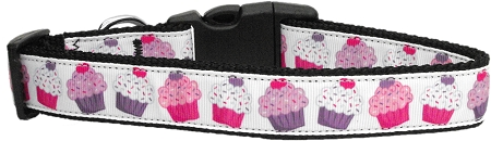 Decorated Pink and Purple Cupcakes Adjustable Dog Collar