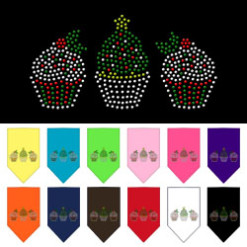 Decorative Christmas Cupcakes rhinestone dog bandana