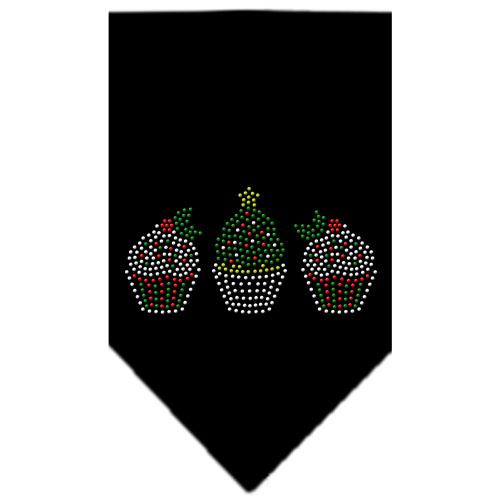 Decorative Christmas Cupcakes rhinestone dog bandana black