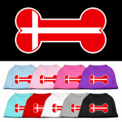 Denmark flag bone shape outline sleeveless dog t-shirt multi color