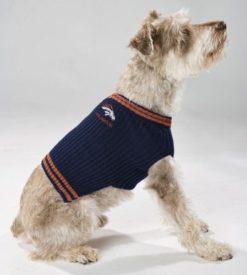 Denver Broncos turtleneck dog sweater on pet