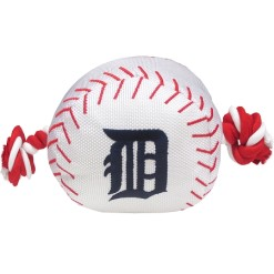 Detroit Tigers baseball plush ball and rope dog toy
