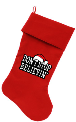 Don't Stop Believin dog stocking red