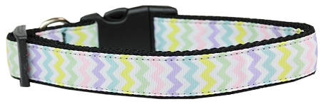 Easter Colors Chevron Pattern Spring adjustable dog collar