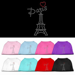 Eiffel Tower Paris heart rhinestones dog t-shirt colors