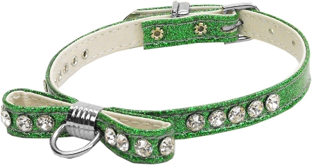 Emerald Green Bow Dog Collar with Austrian crystals