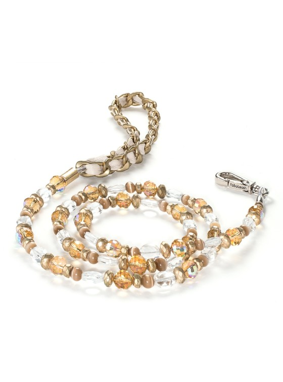 Fabuleash 5th Avenue Gold Beaded Leash