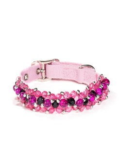 Fabuleash Pink Animal Beaded Dog Collar