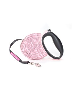 Fabuleash Pink Rhinestones Retractable Leash