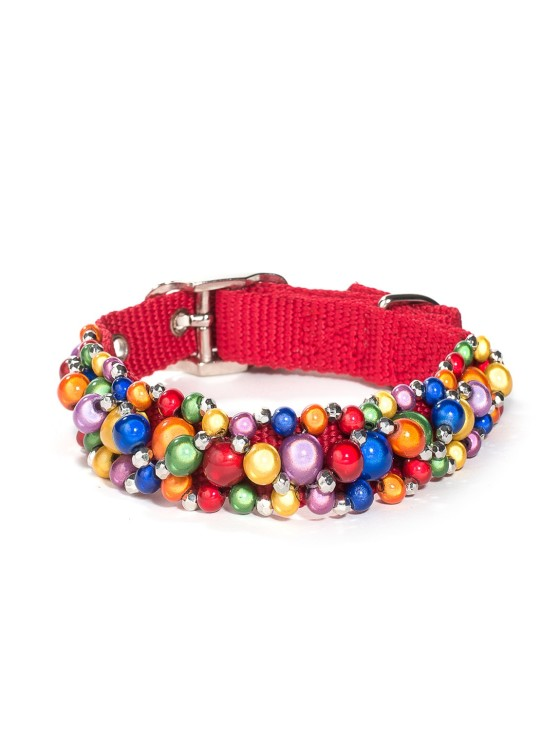 Rainbow Beaded Dog Collar
