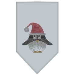 Festive Santa hat dog bandana rhinestone gray