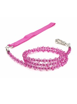 Fuchsia Beaded Dog Leash Fab