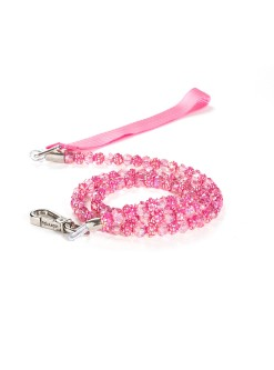 Fuchsia Fireball Beaded Dog Leash