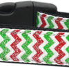 Glittery Christmas Red & Green Chevron Nylon Adjustable Dog Collar big