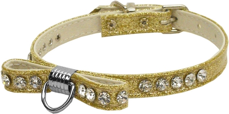 Gold Bow Dog Collar