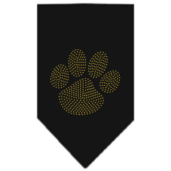 Gold Dog Paw rhinestone bandana black