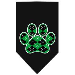 Green Argyle dog paw bandana