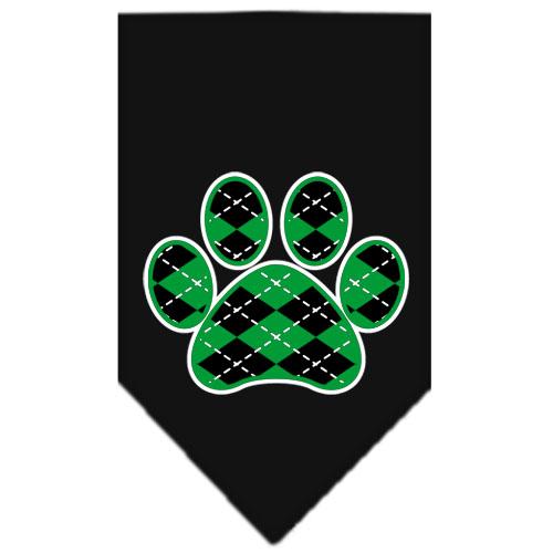 Green Argyle dog paw bandana