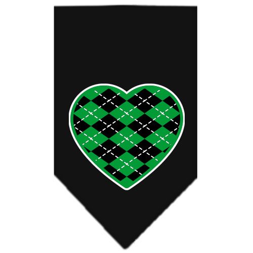 Green Argyle heart dog bandana black