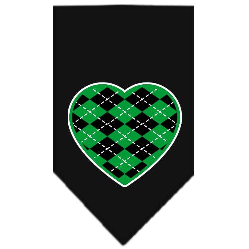 Green Argyle heart dog bandana black