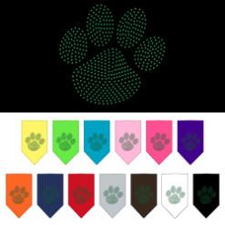 Green Dog Paw rhinestone bandana